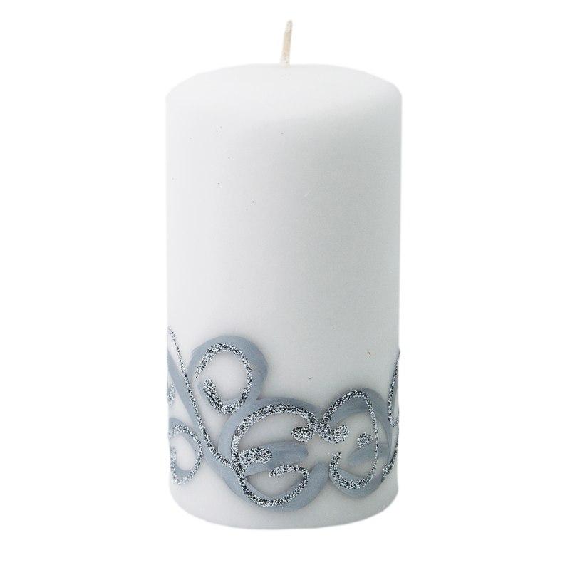 Świeca biała z wzorem średnia