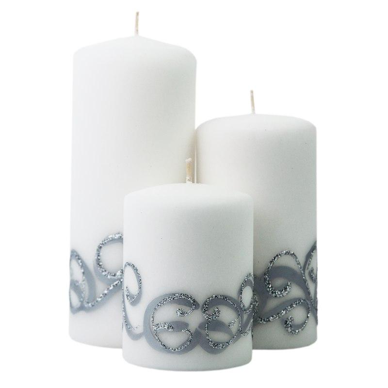 Świece białe z wzorem komplet